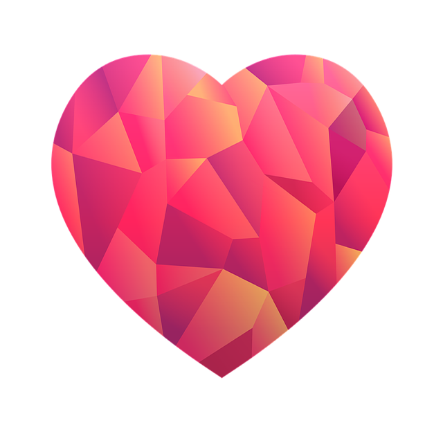 Single Heart icon with polygonal texturing